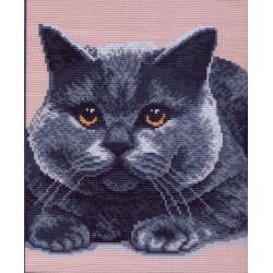 Серый кот, канва с рисунком для вышивки нитками 28х34см. Матрёнин посад