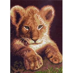 Львенок, канва с рисунком для вышивки нитками 37х49см. Матрёнин посад