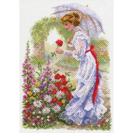 В цветущем саду, канва с рисунком для вышивки нитками 37х49см. Матрёнин посад