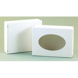 Коробка белая с окошком, картон, для мыла