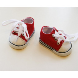 Кеды красные, длина стопы 7см. Кукольная обувь