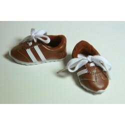 Кроссовки коричневые, длина стопы 7см. Кукольная обувь
