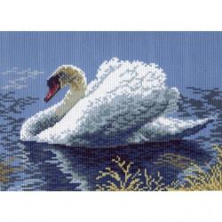 Лебедь-кликун, канва с рисунком для вышивки нитками 28х34см. Матрёнин посад