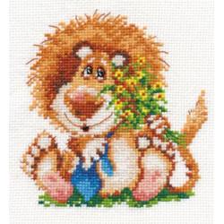 Лева, набор для вышивания крестиком, 12х13см, 17цветов Алиса