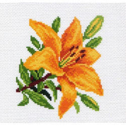 Лилия, канва с рисунком для вышивки нитками 20х22см. Матрёнин посад