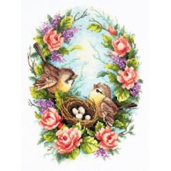 Семейное гнездышко, набор для вышивания крестом 19х25см мулине хлопок 39цв. канва Aida№14 ЧИ