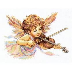 Тонкие струны любви, набор для вышивания крестом 18х13см мулине хлопок 22цв. канва Aida№14 ЧИ