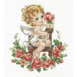 День Ангела, набор для вышивания крестом 12х15см мулине хлопок 20цв. канва Aida№14 ЧИ