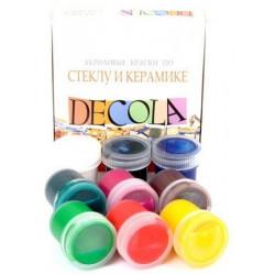 Набор красок по стеклу и керамике акриловых 9х20мл Decola