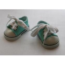 Кеды бирюзовые, длина стопы 7см. Кукольная обувь
