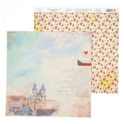 Прага, бумага для скрапбукинга I Love travels 29.5х29.5см 180г/м2 двусторонняя АртУзор