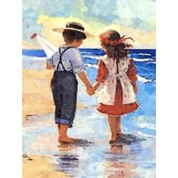 Дети у моря, набор для изготовления картины стразами 30х40см 35цв. полная выкладка, АЖ