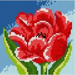 Красный тюльпан, набор для изготовления картины стразами 15х15см 12цв. полная выкладка, АЖ