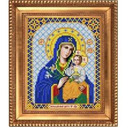 Неувядаемый цвет Пресвятая Богородица, ткань с рисунком для вышивки бисером 13,5х16,5см. Благовест