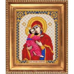 Владимирская Пресвятая Богородица, ткань с рисунком для вышивки бисером 13,5х16,5см. Благовест