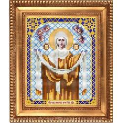 Покров Пресвятой Богородицы, ткань с рисунком для вышивки бисером 13,5х16,5см. Благовест
