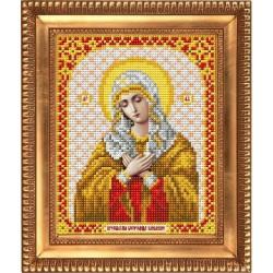Умиление Пресвятая Богородица, ткань с рисунком для вышивки бисером 13,5х16,5см. Благовест