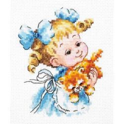 Ты мой маленький!, набор для вышивания крестом 10х13см мулине хлопок 19цв. канва Aida№14 ЧИ