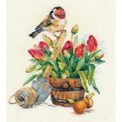 Весенняя пора, набор для вышивания крестиком, 18х20см, 32цвета Алиса