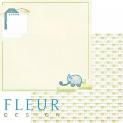 Слоник, коллекция Я расту, бумага для скрапбукинга 30x30см, 190г/м Fleur Design