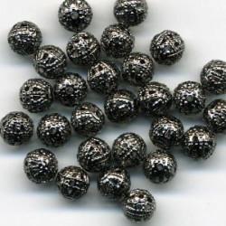 Черный никель, бусины ажурные 6мм 10шт, Zlatka