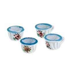 Набор 4 чашки с голубой каймой (металл) Art of Mini