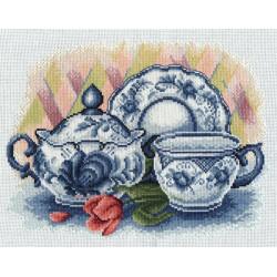 Чаепитие, набор для вышивания крестиком, 29х22см, 27цветов Panna