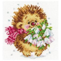 Весенний Ёжик, набор для вышивания крестиком, 11х13см, 16цветов Алиса