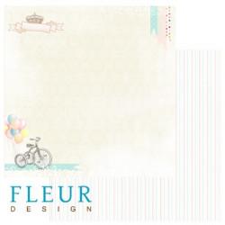 Веселое время, коллекция Детская, бумага для скрапбукинга 30x30см, 190г/м Fleur Design