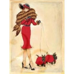 Прогулка в красном, ткань с рисунком для вышивания бисером 40х30 см, GLURIYA