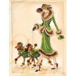 Прогулка в зеленом, ткань с рисунком для вышивания бисером 40х30 см, GLURIYA