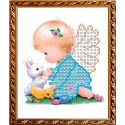 Ангелочек со зверушками, ткань с рисунком для вышивки бисером 15х19см, Art Solo