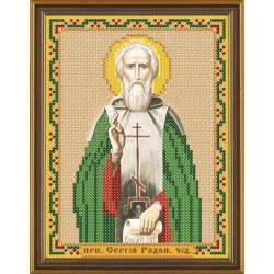 Сергий Св. Прп. Радонежский, ткань с рисунком для вышивания бисером 13х17см