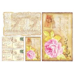 Любовь в письмах, бумага рисовая для декупажа 48х33см 28г/м? Stamperia