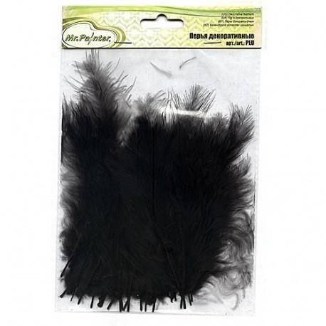 Черный, декоративные перья 12-15см 24шт.±2 шт, Mr. Painter
