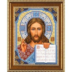 Христос  Спаситель, ткань с рисунком для вышивания бисером формат А3