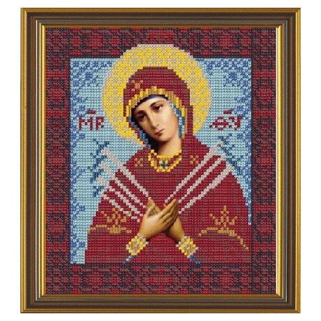 Богородица Семистрельная, ткань с рисунком для вышивания бисером формат А4