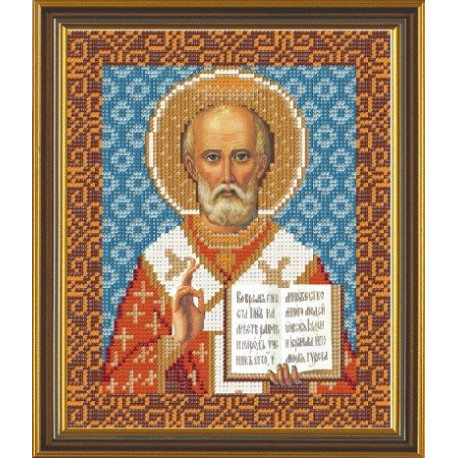 Николай Угодник Св., ткань с рисунком для вышивания бисером формат А4