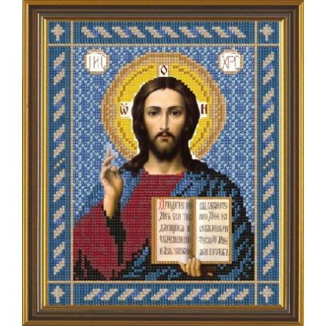 Христос Спаситель, ткань с рисунком для вышивания бисером формат А4