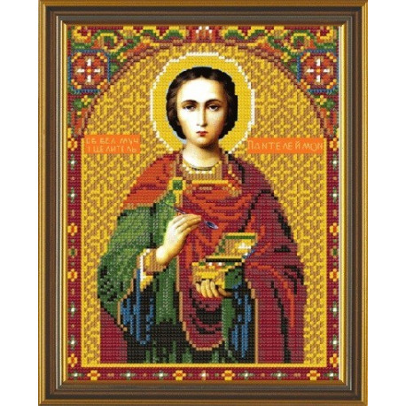 Пантелемон Св.Вмч., ткань с рисунком для вышивания бисером формат А4