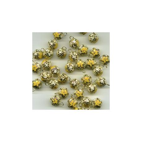 Желтый, бубенчики резные 12 мм 10 шт Zlatka