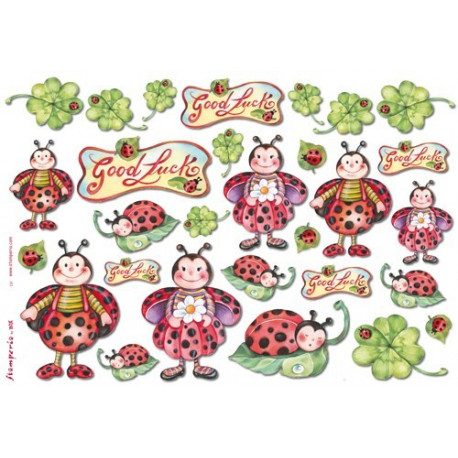 Бумага рисовая для декупажа Stamperia Божьи коровки, 1 лист 48х33 см 28г/м