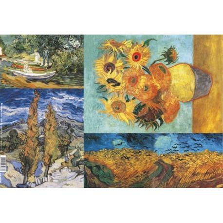 Бумага рисовая для декупажа Stamperia Ван Гог, фрагменты, 1 лист 48х33 см 28г/м