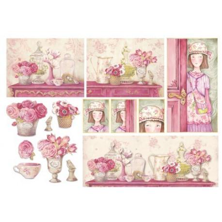 Розовый дом, бумага рисовая для декупажа 48х33см 28г/м? Stamperia