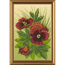 Фиалки, ткань с рисунком для вышивания бисером 17x25см