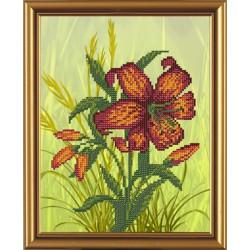 Цветочный каприз, ткань с рисунком для вышивания бисером 20x25см