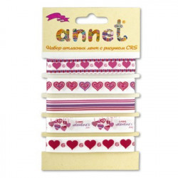 Валентинки, набор атласных лент ширина 12мм, 5шт по 1м , Annet