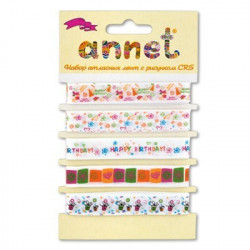 С днем рождения, набор атласных лент ширина 12мм, 5шт по 1м , Annet