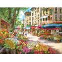Цветочная улица, ткань с рисунком для вышивания бисером 30х40см, GLURIYA