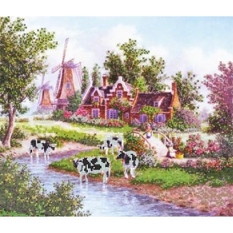 Коровы, ткань с рисунком для вышивания бисером 35х30см, GLURIYA